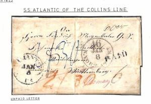 H69 1853 USA PRUSSIAN CLOSED MAIL Unpaid *Collins Line* Transatlantic EL Cover