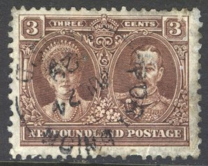 NEWFOUNDLAND 147 3c BROWN WITH PORT UNION (PPL 612) JUL 24 1929 SPLIT CIRCLE