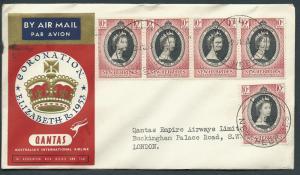 GB 1953 Coronation Flight Cover New Hebrides to London - ...