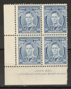 AUSTRALIA 1937 KGVI 3D DIE II IMPRINT BLOCK