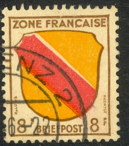 GERMANY FRENCH OCCUPATION 1945-46 8pf COAT OF ARMS Issue Sc 4N4 VFU