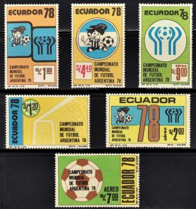 Ecuador Scott 971-73, C627-29 complete set F to VF mint OG H.