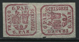 Romania 1864 6 pa red pair, one sideways mint o.g. hinged