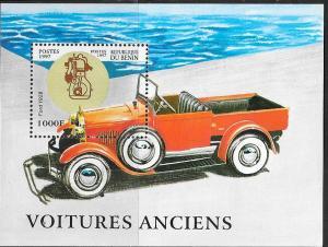 Benin#993 1000fr Antique Car Souvenir Sheet (MNH) CV $5.00