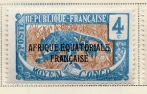 Middle Congo 1924 Early Issue Fine Mint Hinged 4c. Optd 324725