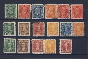 17x Canada M Stamps #195-197-199-200-192-207-217-218-219-220-221-222+ GV= $78.00