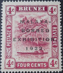 Brunei 1922 4 Cents Exhibition opt SG 54 mint