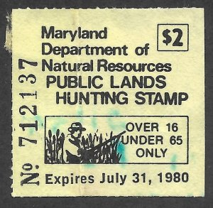 Doyle's_Stamps: Used 1979 Maryland Hunting Permit/Stamp, Scott #A5  cv $35