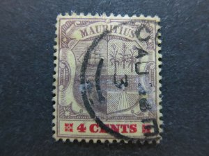 A4P43F57 Mauritius 1900-05 Wmk Crown CA 4c used