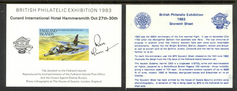 FALKLAND ISLANDS 1983 17p ROYAL AIRFORCE STAMP EXHIBIT SS Label MNH