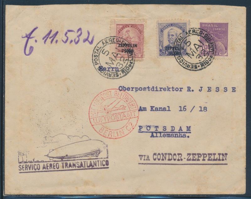 SIEGER #158A, B ON ZEPPELIN TRANS-ATLANTIC FLT COVER 1932 BRAZIL C29, C30 BU6087