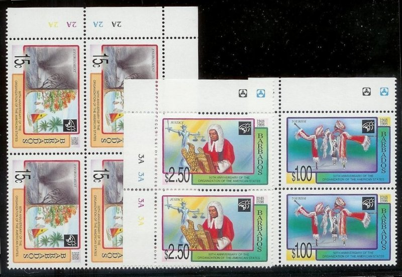BARBADOS Large stamp accumulation Most MNH plate blocks gutter pairs Much value!