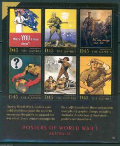GAMBIA  2015 POSTERS OF WORLD WAR I  PART II  SHEET  MINT NH
