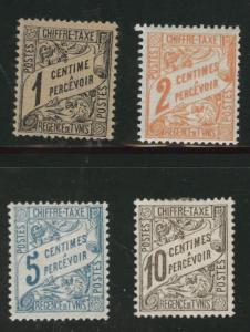 Tunis Tunisia Scott J1-4 MH* 1901 postage due short set