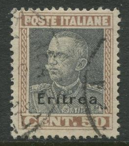Eritrea - Scott 108 - Italy Overprint -1928 - FU - Single - 50c Stamp
