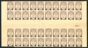 MEXICO 1917-20 1c IGNACIO ZARAGOZA Sc 608 GUTTER BLOCK OF 40 w Sheet Number MNH