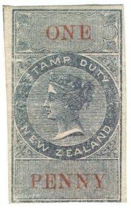 (I.B) New Zealand Revenue : Stamp Duty 1d (reversed & inverted watermark)