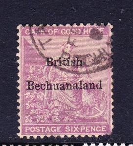 BRITISH BECHUANALAND  1885-87  6d  REDDISH PURPLE  FU  SG 7