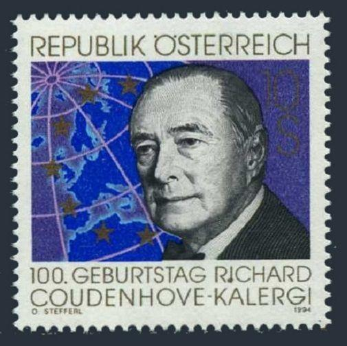 Austria 1665,MNH Michel 2141. Richard Coudenhove Kalergi,Pan-European Union,1994