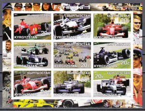 Kyrgyzstan, 2001 Russian Local. Formula One, Racing Cars, IMPERF sheet of 9. ^