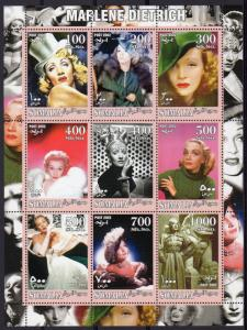 Somalia 2002 MARLENE DIETRICH German Actress Sheetlet (9) Perforated MNH