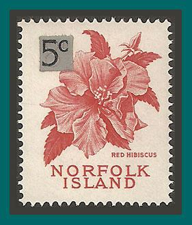 Norfolk Island 1966 Surcharge Hibiscus, MNH 75,SG64