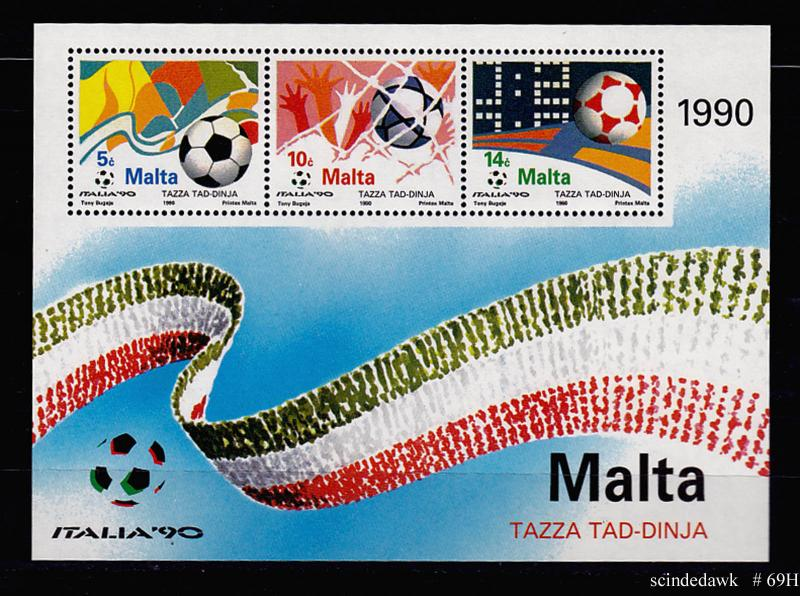 MALTA - 1990 ITALIA 90 FOOT BALL MIN SHEET MINT NH