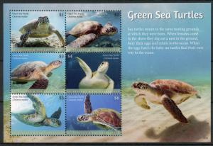 St Vincent & Grenadines Reptiles Stamps 2018 MNH Green Sea Turtles Turtle 6v M/S