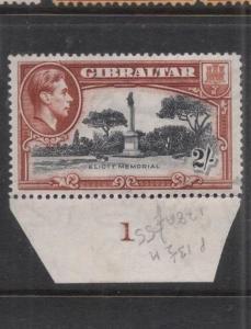 Gibraltar KGVI 2/- SG 128a Plate 1 MNH (10dms)
