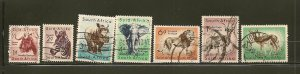 South Africa Collection of 7 Different 1950's Wild Animal Stamps Used