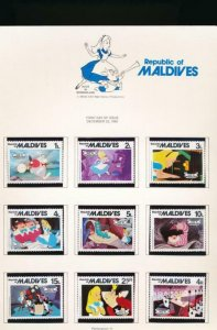 DISNEY MALDIVES 887-896 MINT NH ALICE IN WONDERLAND 1980