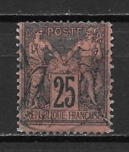 France 100 1879-90 25c Commerece single Used (z3)