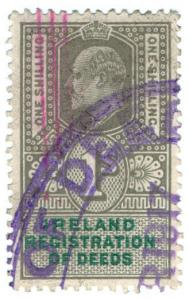 (I.B) Edward VII Revenue : Ireland Registration of Deeds 1/- (unlisted)