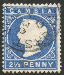 GAMBIA-1886-93 2½d Deep Bright Blue Sg 27 FINE USED V46459