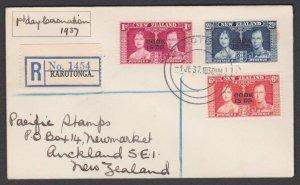 COOK IS 1937 Coronation registered FDC ex Rarotonga.........................N163