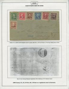 GUAM #1-10 ON REGISTERED COVER PHILS. CANCEL TO OLDENBURG, GERMANY BS8449 HS108G