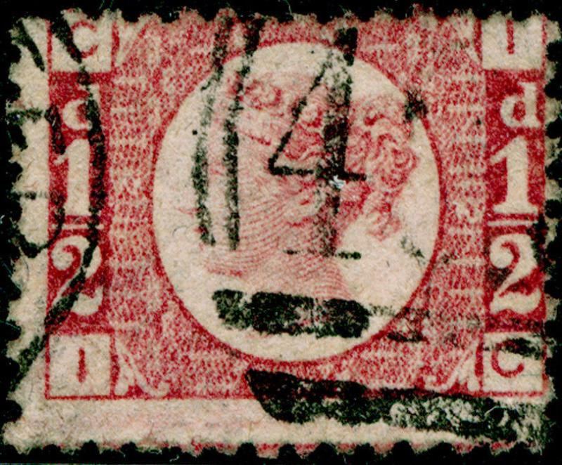 SG48, ½d rose-red PLATE 12, USED. Cat £22. IC