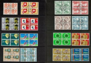 Switzerland 1977 - 1980 Period. Blocks of CTO Stamps. Includes Used. Cat app £66