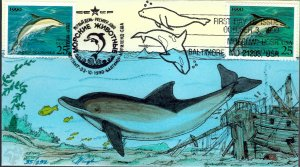 Pugh Designed/Painted Joint US & Russia Dolphin FDC...190 of 232 created!