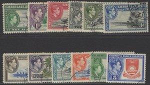 GILBERT & ELLICE IS. SG43/54 1939-55 DEFINITIVE SET USED
