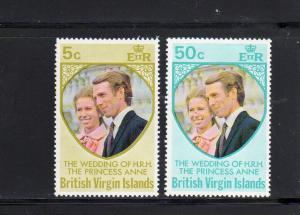 VIRGIN ISLANDS #260-261  1973 PRINCESS ANNE WEDDING        MINT VF NH O.G  a