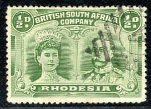 RHODESIA BSACo Stamp Double Head ½d  BARRED DIAMOND *A* Cancel Postmark PBLUE28
