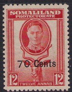 Somaliland 1951 KGV1 70cts on 12 Annas Red Orange MM SG 131 ( K648 )