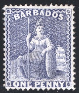 Barbados 1875 1d Grey Blue PERF 14 Wmk CC SG 74 Scott 51b LMM/MLH Cat £120($156)