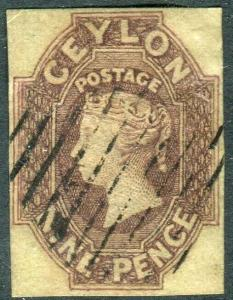 CEYLON-1859 9d Purple-Brown.  A fine used 4 margin example Sg 8