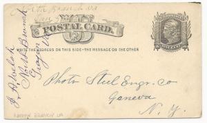 VA Postal Stationery Cover US Scott #UX5 North Branch DPO January 31, 1882