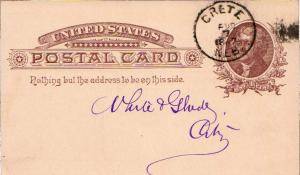 United States Nebraska Crete 1887 cork killer  Postal Card.