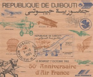 Djibouti 1985 Aviation Aircraft Airplanes Very Fine Used Wood Stamp 12487
