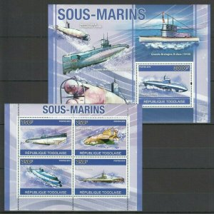 TG1267 2010 TOGO TRANSPORT SHIPS & BOATS SUBMARINES SOUS-MARINS BL+KB MNH