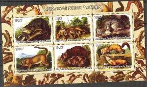 Congo 2005 Animals of North America Sheet of 6 MNH Cinderella !
